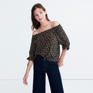 Madewell black silk off the shoulder top small
